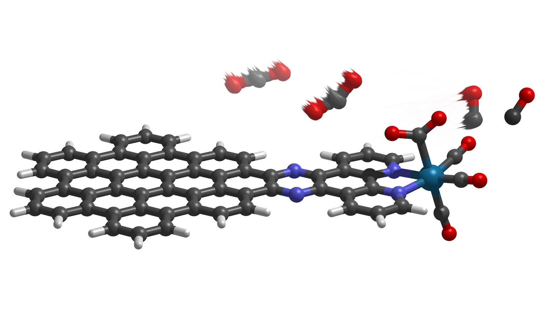 The new molecule employs a nanographene complex to absorb light and drive the conversion of carbon dioxide to carbon monoxide