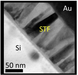Image of nanopillar-like poly-crystalline STF film obtained by transmission electron microscopy.