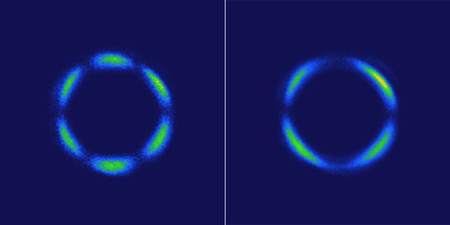 These images show light patterns generated by a rhenium-based crystal using a laser method called optical second-harmonic rotational anisotropy