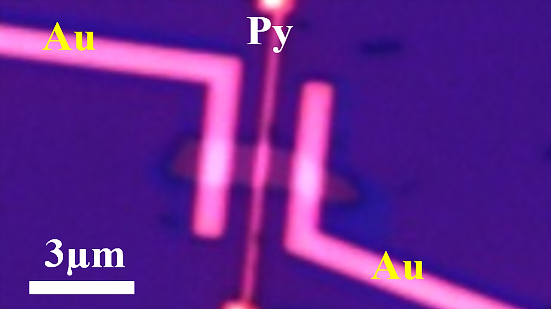 "This microscope image shows a new device used to measure the ""persistent spin polarization"" for a rechargeable ""spin battery"" that represents a step toward building possible spintronic devices and quantum computers more powerful than today's technologies"
