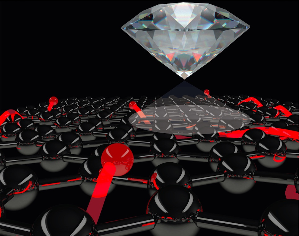 Artist's impression of a diamond quantum sensor