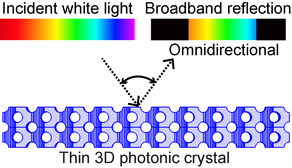 A thin 3D photonic crystal with a diamond-like nanostructure is illuminated by white light from any incident direction
