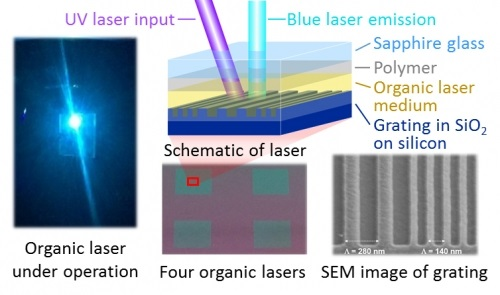 Photograph of an organic thin-film laser producing blue laser emission when excited by ultraviolet light along with microscope images and a schematic of the lasers.