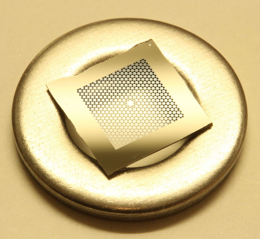 Silicon nitride membrane resonator suspended from a mm-sized square silicon frame.