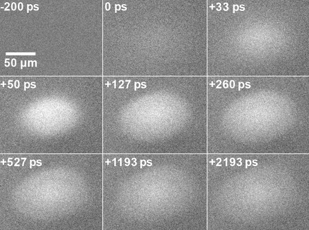 Scanning ultrafast electron microscopy shows the diffusion of electrons in silicon over a period of picosconds