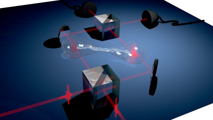 Two single-photons are overlapped on a beam splitter and generate a so-called biphotonic path-entangled NOON state