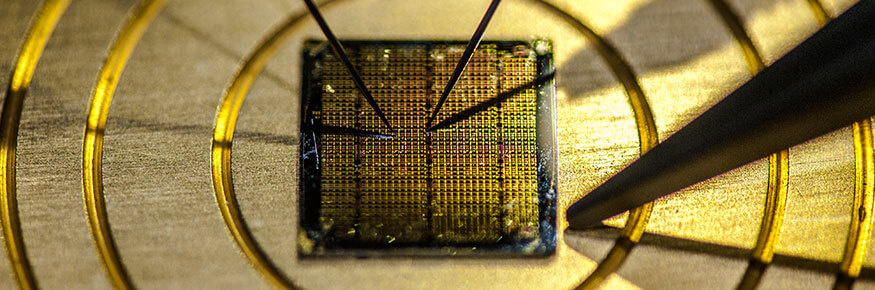 A close of a gold microchip
