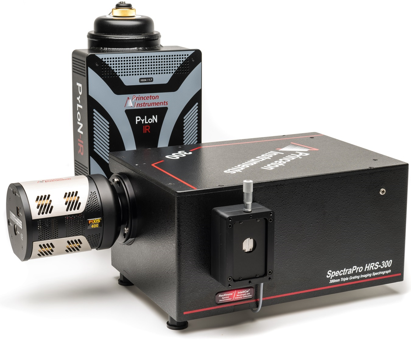 Versatile SpectraPro HRS-300 spectrograph shown with Princeton Instruments' PyLoN-IR InGaAs and PIXIS CCD cameras.