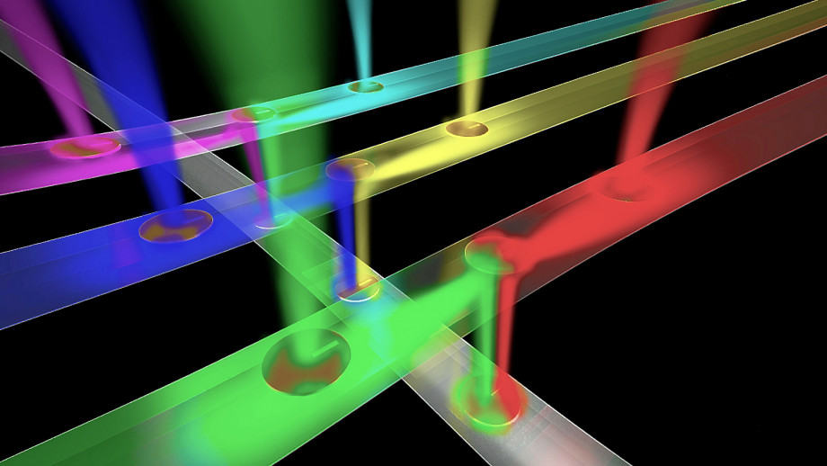 An artist's impression of a network of optical wires receiving and routing different streams of information to enable ultra-fast transmission of information in multicore processors for gaming and high-performance computing