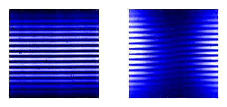 UV radiation from a relativistic electron beam is diffracted by a double-slit