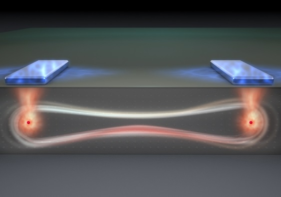Artist's impression of a 'flip flop' qubit in an entangled quantum state