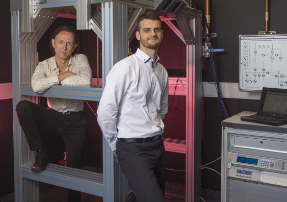 Professor Andrea Morello and Dr Guilherme Tosi at the UNSW quantum computing labs.
