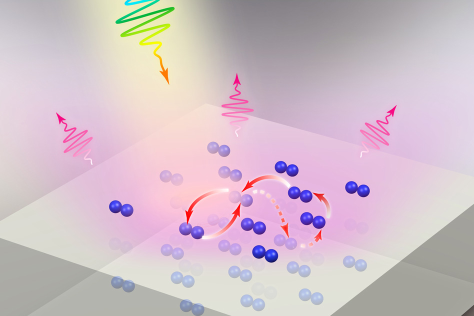 In this image, light strikes a molecular lattice deposited on a metal substrate