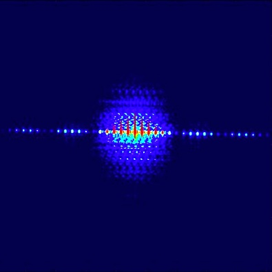Diffraction image of a grating consisting of four slits, created using partially coherent light from the Free-Electron Laser Hamburg, as used in the experiment