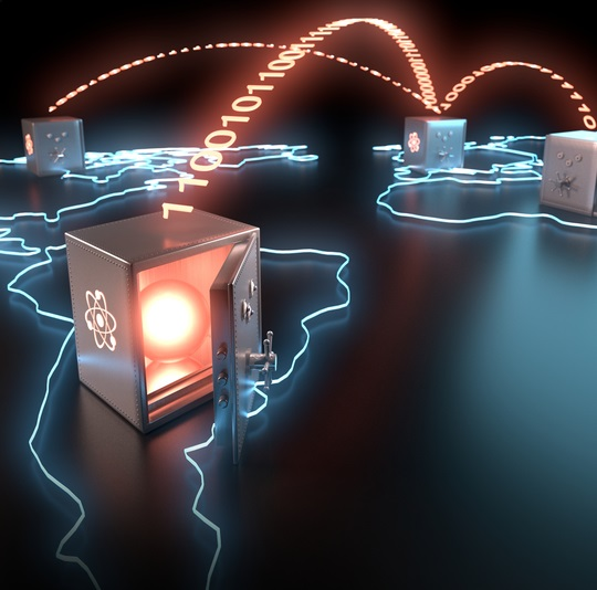 Artist's view of global teleportation of quantum bits