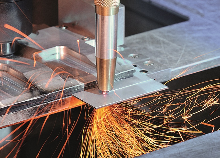 This laser cutting head with diamond optics features built-in water cooling and shielding gas supply
