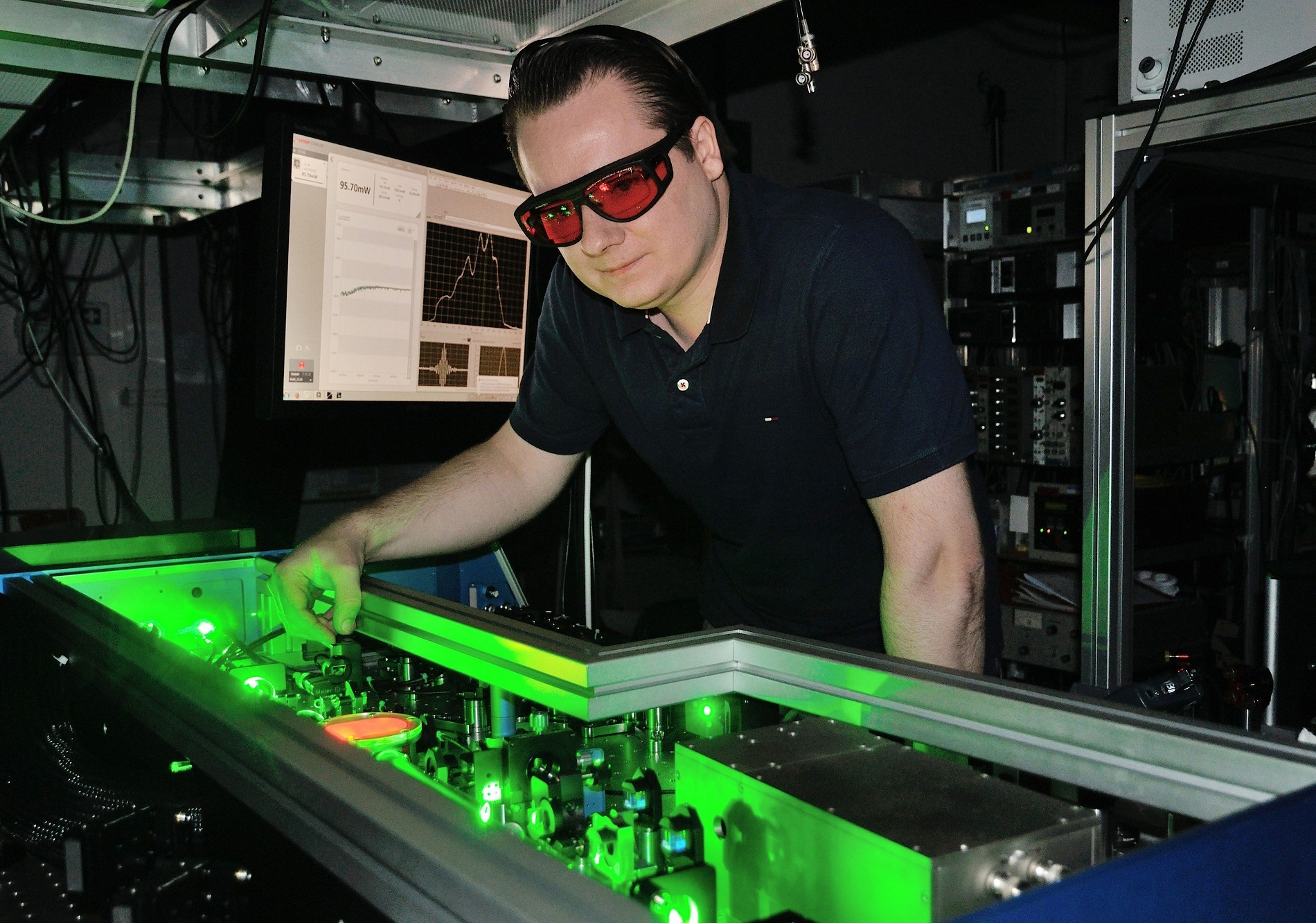 To emit electrons from the semiconductor crystal, researchers bombard it with ultra-short laser pulses.