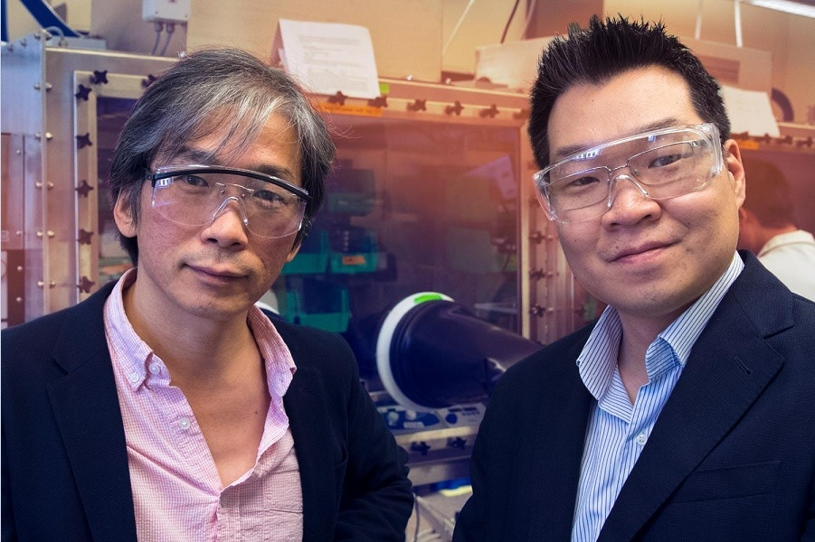 Physics professor Seung-Hun Lee, left, and chemical engineering professor Joshua Choi are tweaking out the molecular details of HOIPs