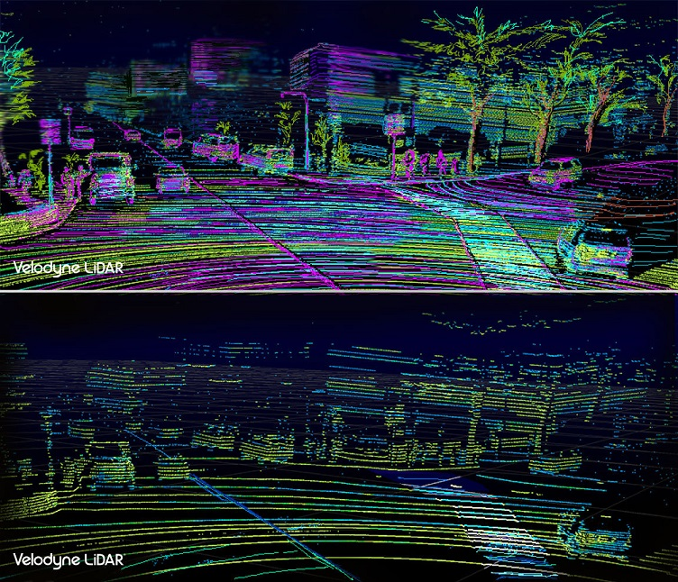 Comparison of the VLS-128 point cloud (top) to the HDL-64 point cloud (bottom) highlights how Velodyne's new flagship model delivers 10 times higher resolving power than the HDL-64, allowing it to see objects more clearly and from greater distances