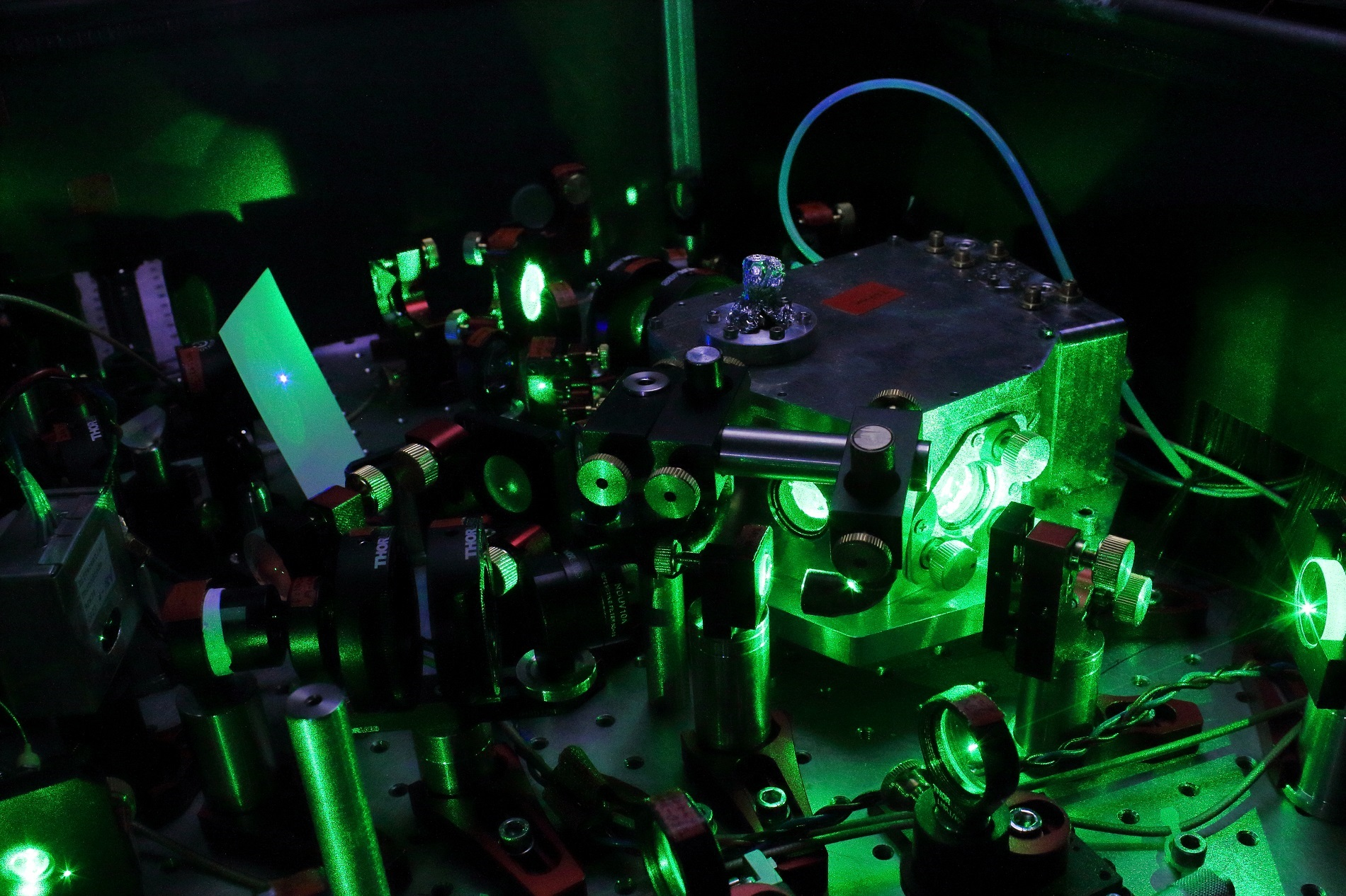 The laser setups of the optical atomic clock being developed at the QUEST Institute of PTB