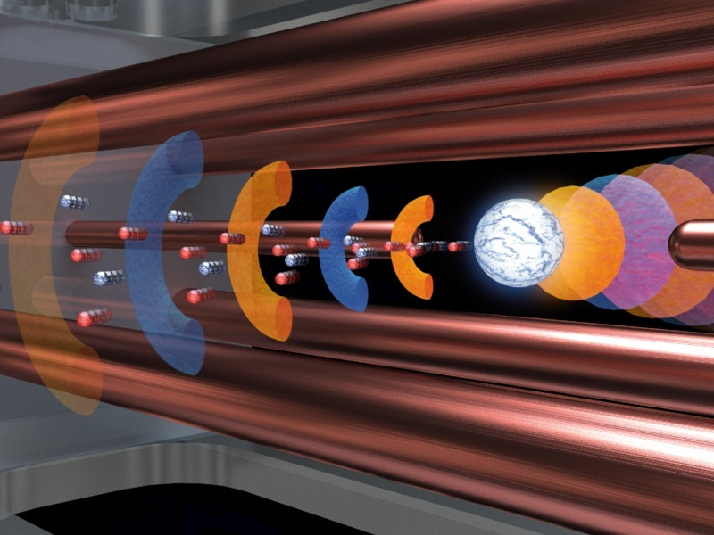 Artist's impression of the laser-plasma interaction