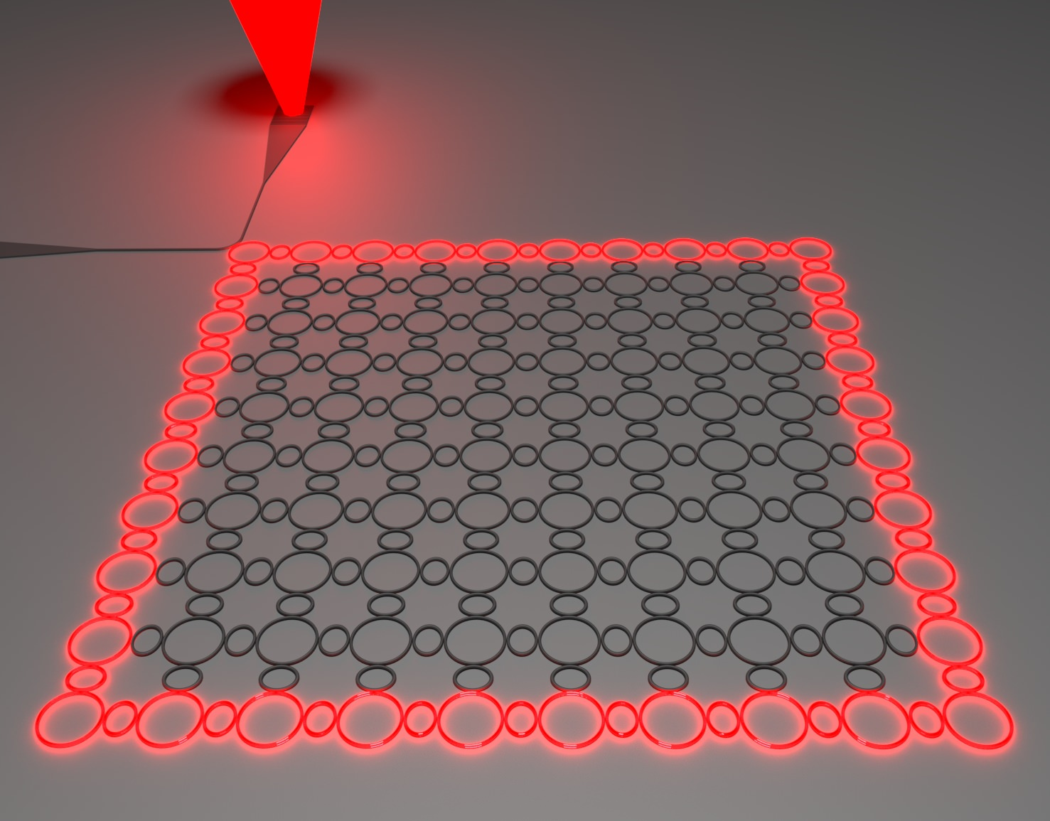 Illustration of the topological insulator laser: the light goes around the perimeter unobstructed by sharp corner or disorder, and eventually exits through the output port.