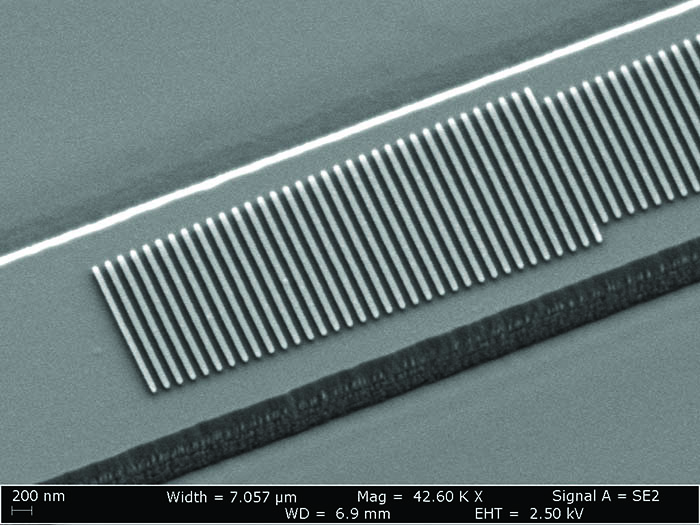 Scanning electron microscope image of the fabricated device