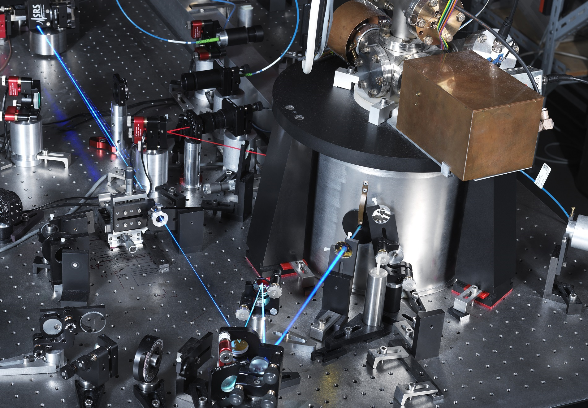 View of the test setup of PTB's optical single-ion clock
