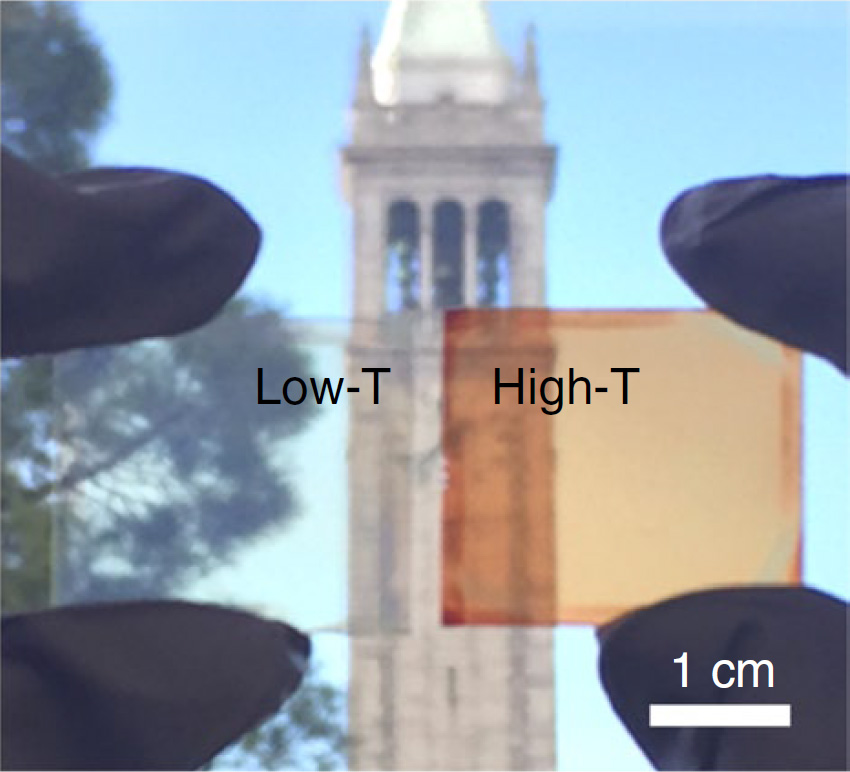 UC Berkeley's campanile seen through the low-temperature thin-film halide perovskite, which is transparent, and the heated perovskite, which is orange-red and converts sunlight into electricity