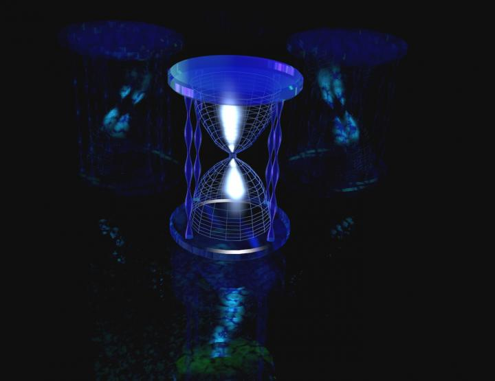 This is an artist's render of a quantum timekeeper, in which time is tracked through superposition states.