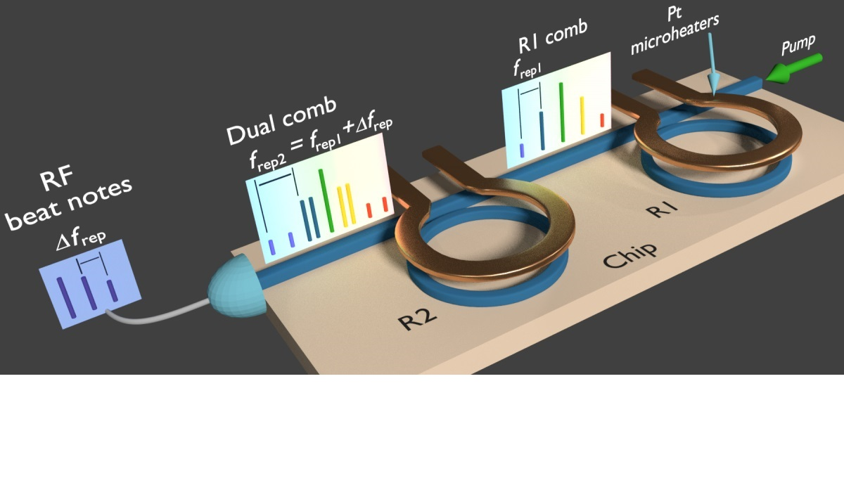 A compact, integrated, silicon-based chip used to generate dual combs for extremely fast molecular spectroscopy