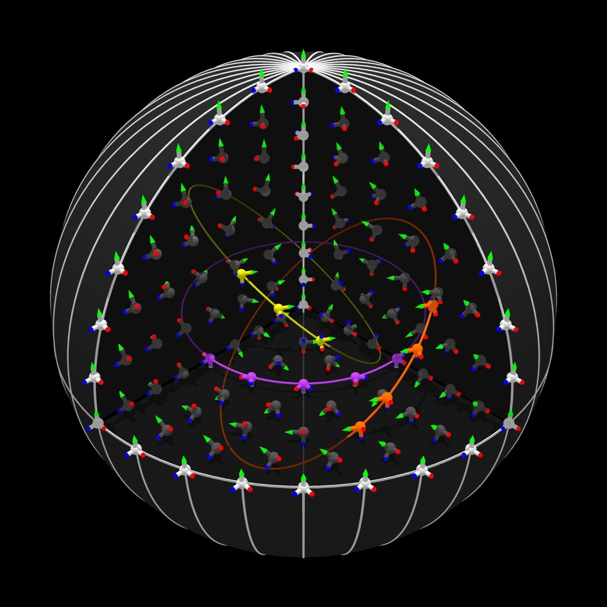 Cutaway view of the 3D skyrmion spin structure