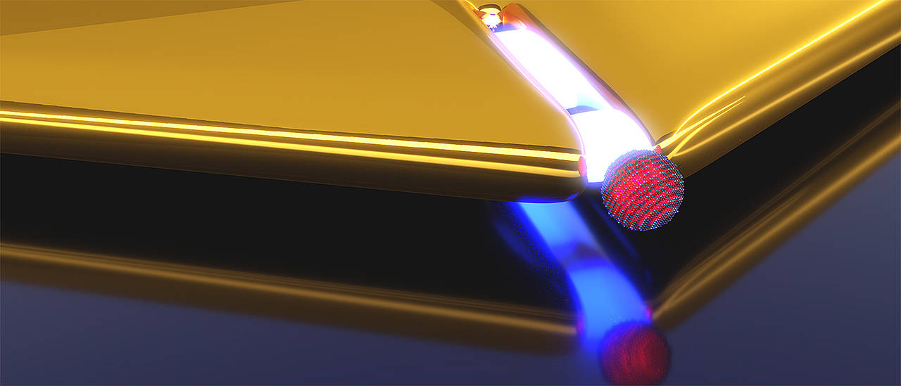 Artistic representation of a plasmonic nano-resonator realized by a narrow slit in a gold layer