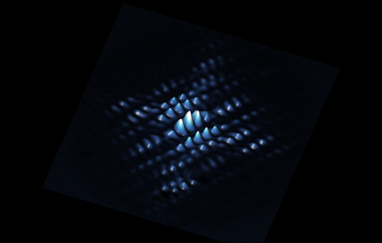 A scanning tunnelling microscope image showing the electron wave function of a qubit made from a phosphorus atom precisely positioned in silicon