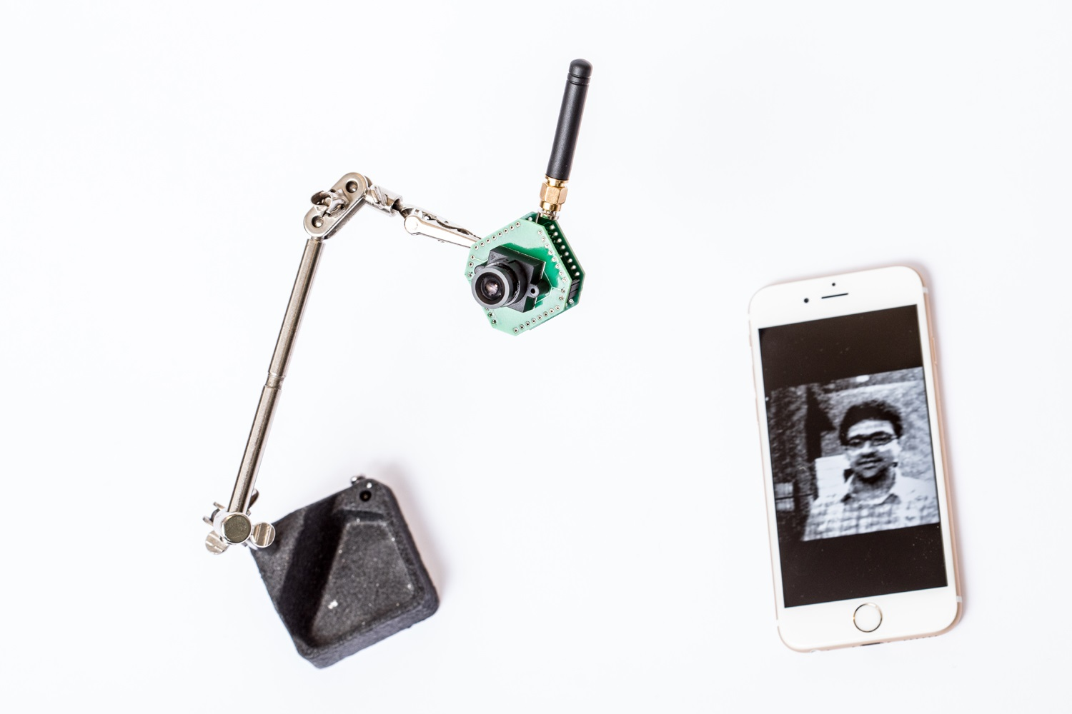 The UW team also created a low-resolution, low-power security camera, shown here on a stand