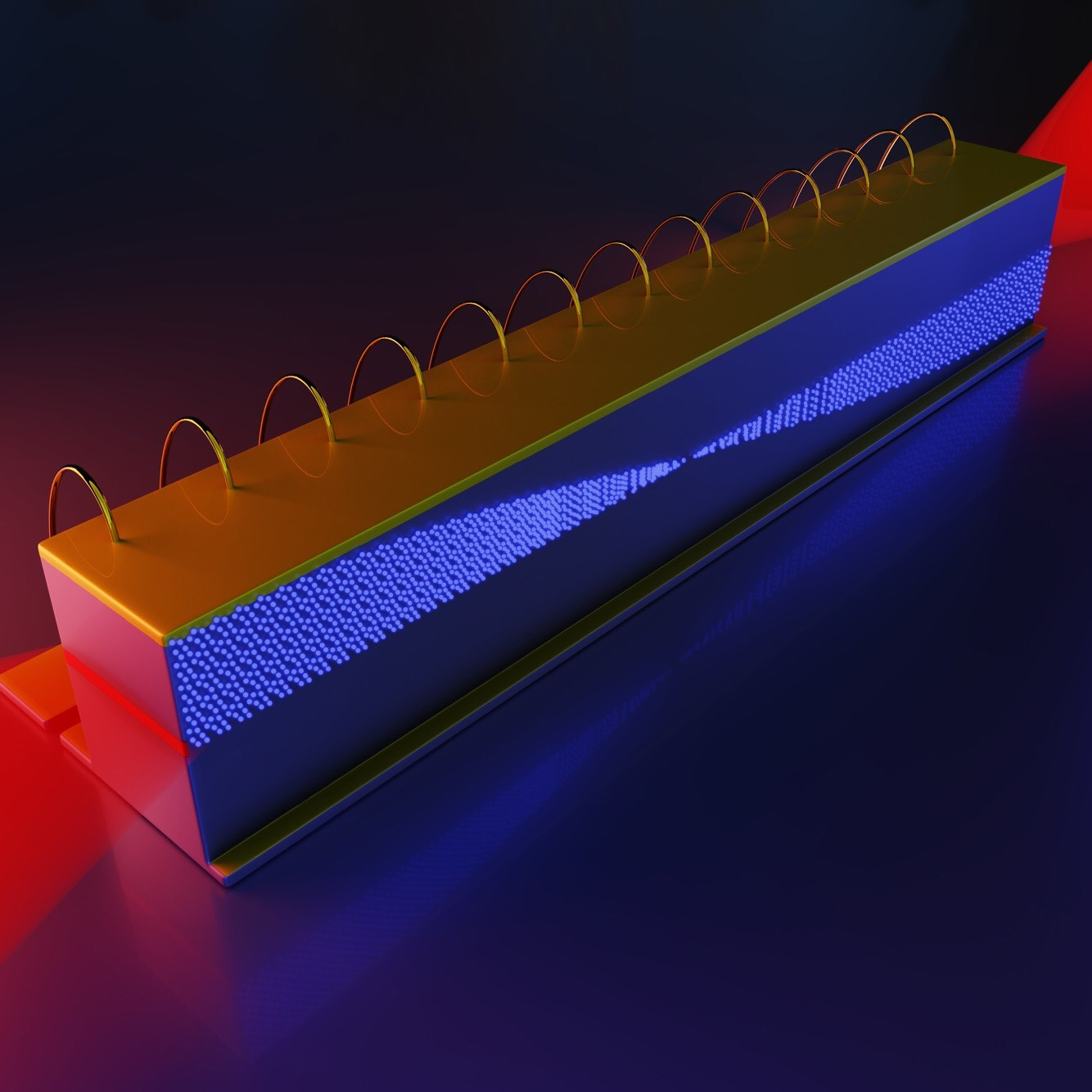 Inside an infrared frequency comb in a quantum cascade laser, the different frequencies of light beat together to generate microwave radiation