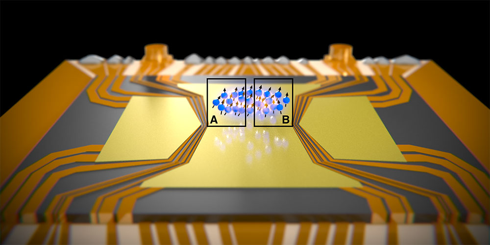 A cloud of atoms is held above a chip by electromagnetic fields