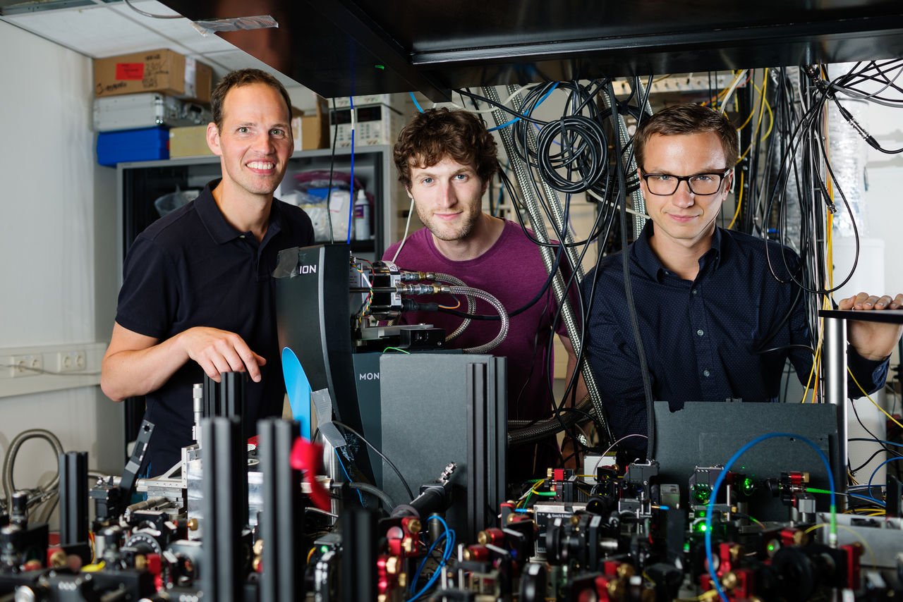 Researchers from QuTech in Delft working on the 'entanglement on demand' experiment'